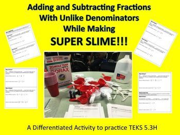 This engaging activity will have students finding common denominators and either adding or subtracting! Students will use differentiated questions to figure out missing measurements in a super slime recipe.  There are more simple questions for your struggling students and more complex questions for enrichment.