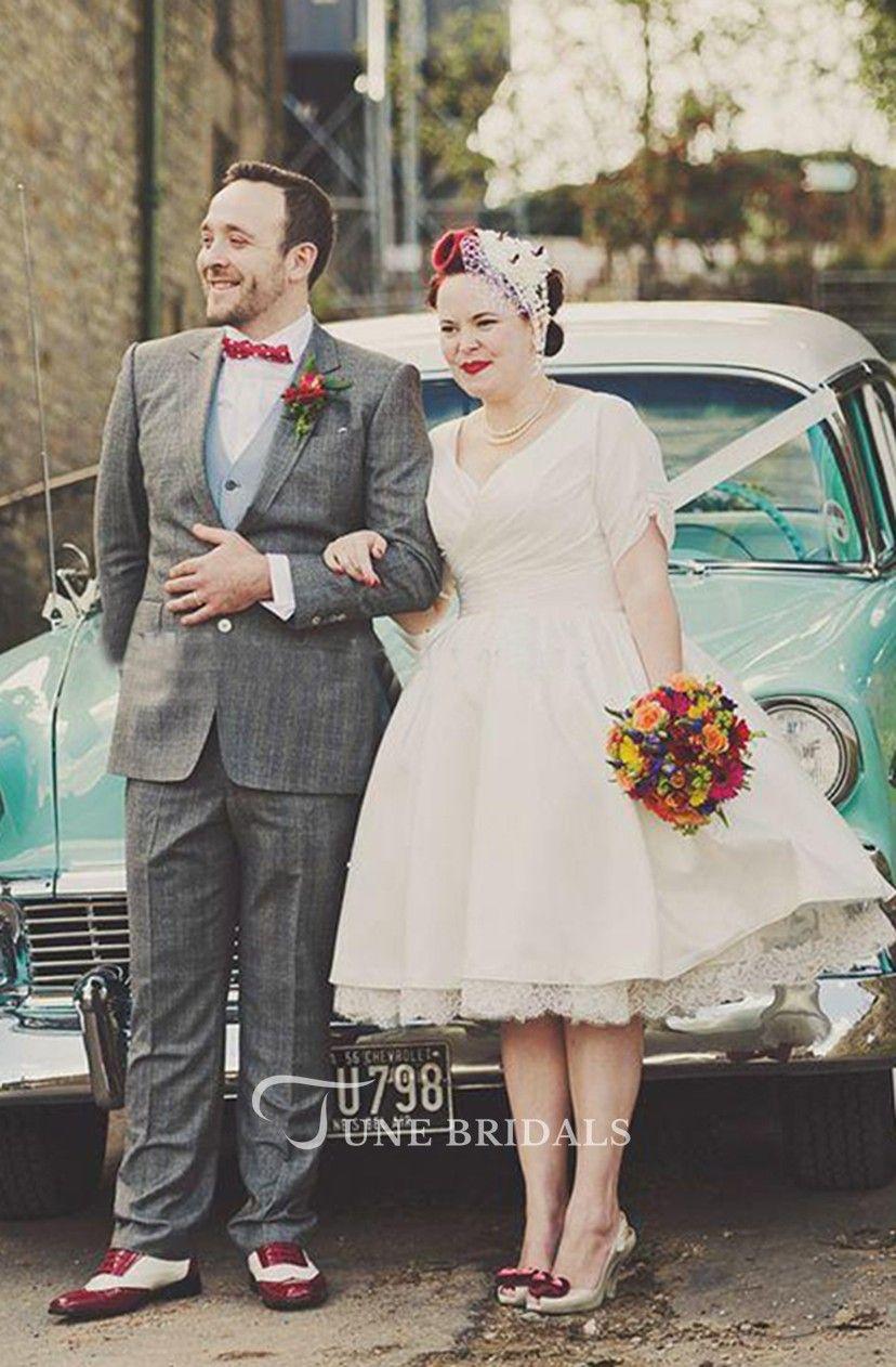 6cb0d01f042 Short Sleeve V Neck Pleated Satin Tea Length Plus Size Wedding Dresses -  June Bridals