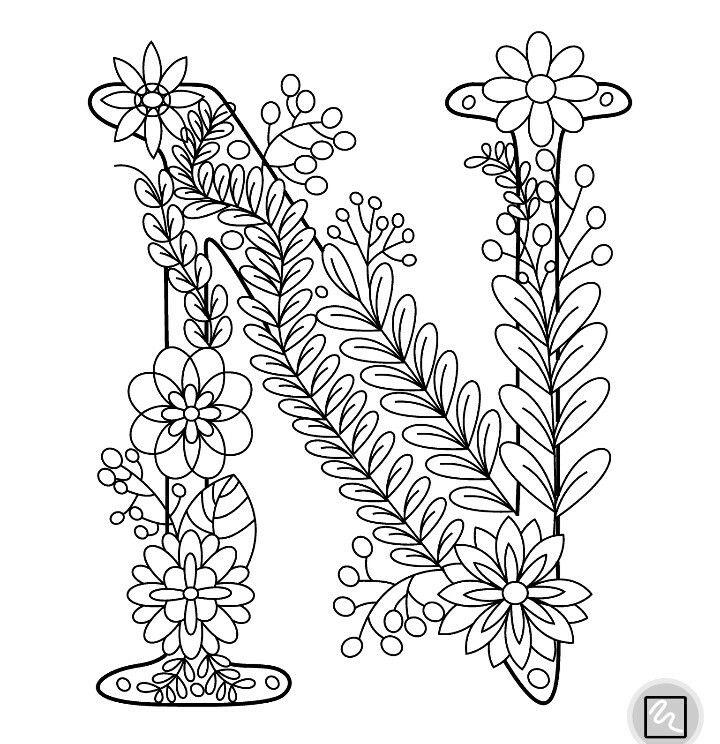 """Letra """"N"""" (con imágenes) Libro de colores Mandalas arte Letra n"""