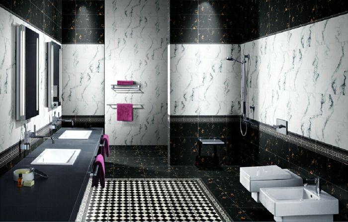 Badgestaltung Bad Ideen Badezimmer schwarz weiß grauer weiss ... | {Badezimmer fliesen design schwarz weiß 49}