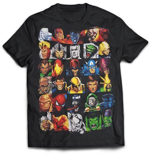 Superheroes Head Strong Black Tshirt Superhero, Marvel