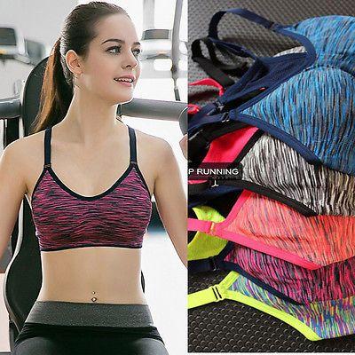 Women Yoga Fitness Stretch Bra Seamless Racerback Padded Sports Bras Top Tank ^P