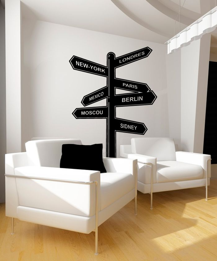 stickers panneau de directions stickers design pinterest decoration panneau et decoration. Black Bedroom Furniture Sets. Home Design Ideas