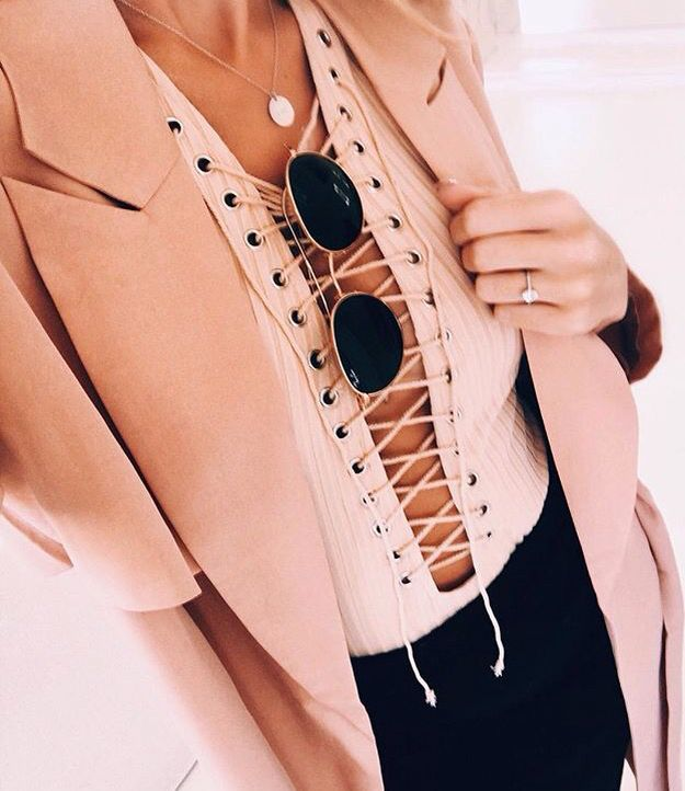 lace up bodysuit & trench