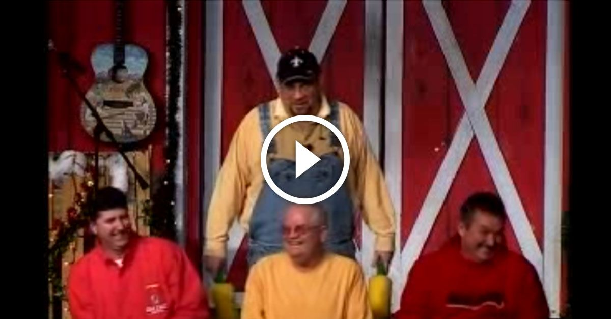 This started out as a comedy barn skit, but watch as the man in the yellow shirt in the middle steals the show with his infectious laughter!
