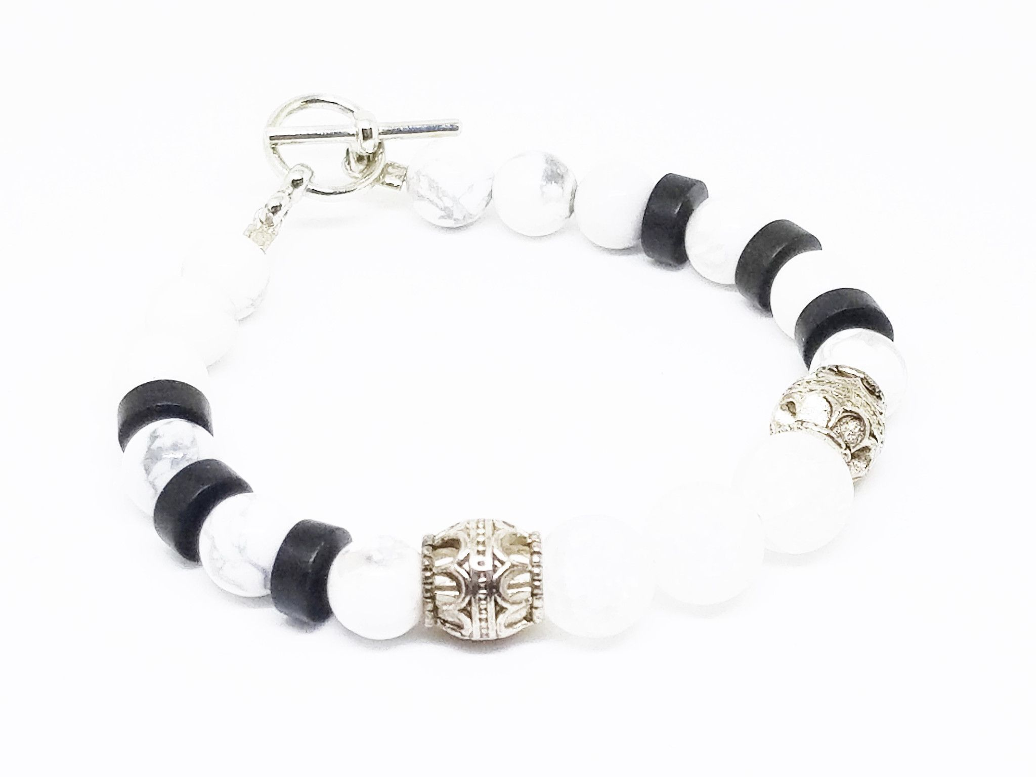 Silver Roman Pillars Toggle Bracelet