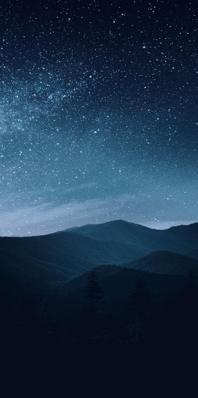 1440x2880 Night Mountains Silhouette Starry Sky Wallpaper Night Sky Wallpaper Beautiful Night Sky Night Sky Painting