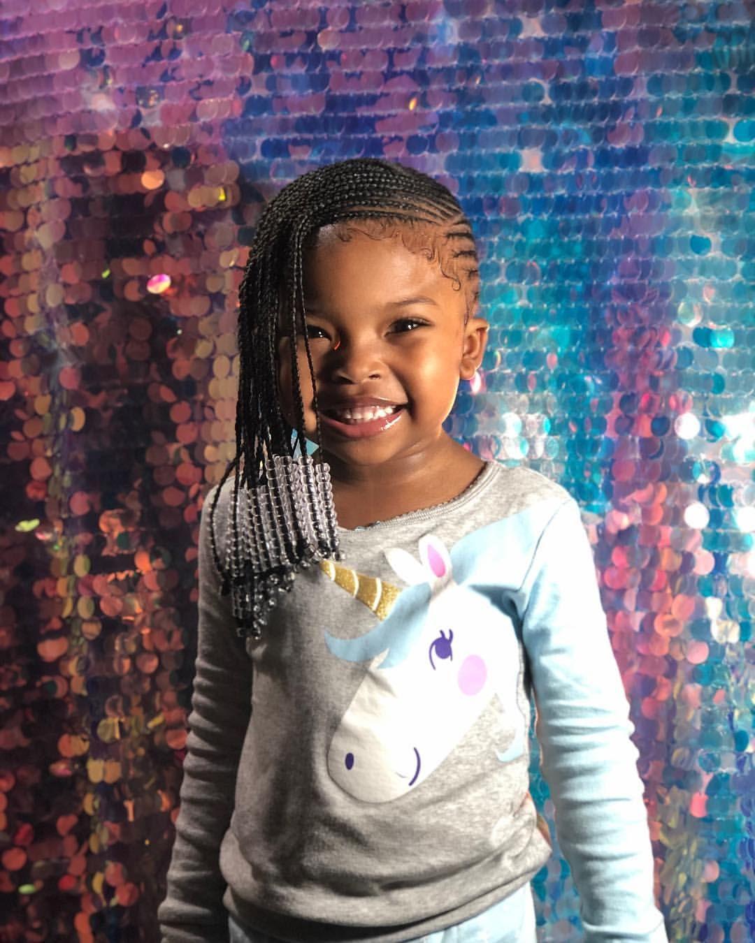 Kids lemonade braids with beads. Side braids. Natural hair