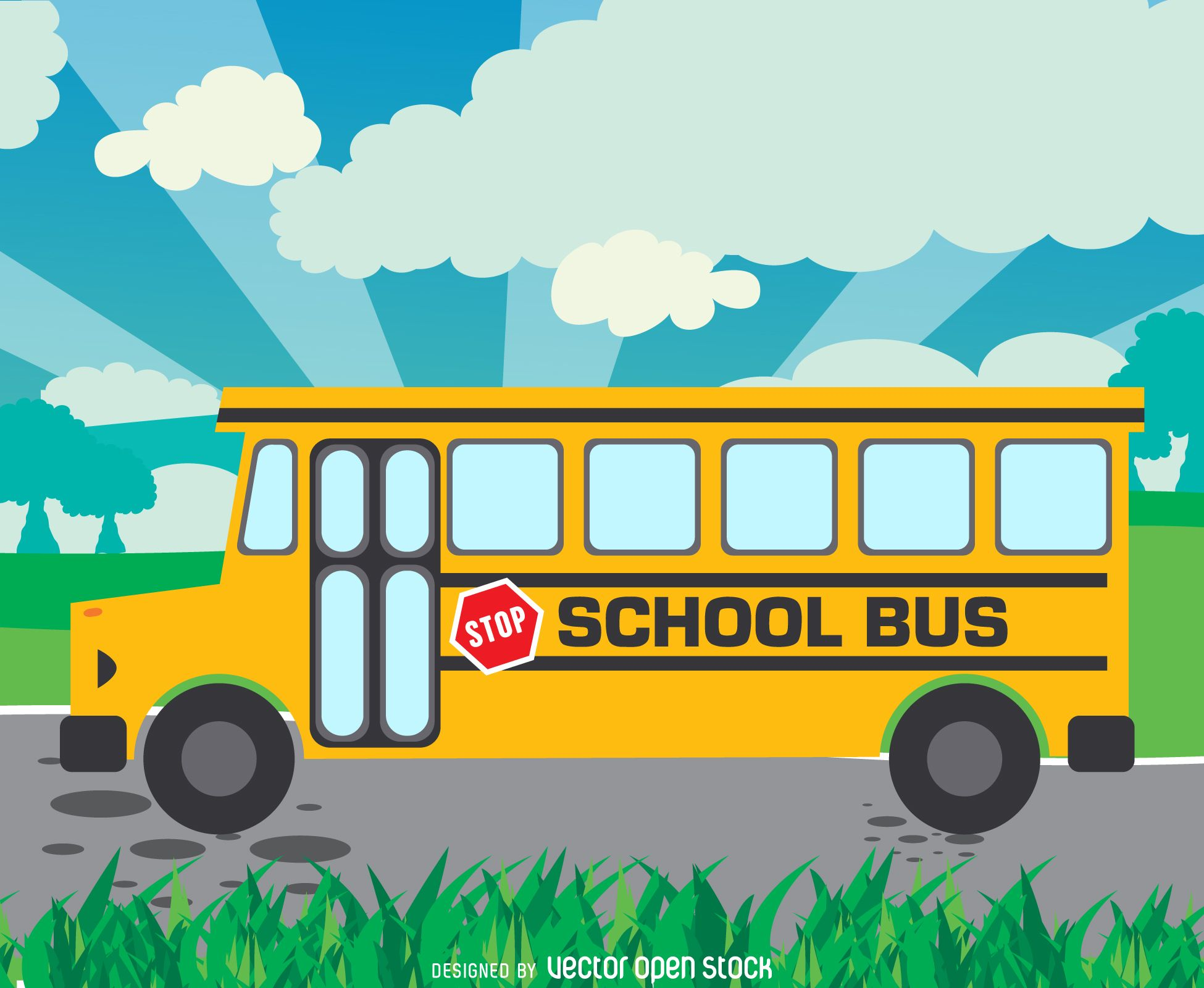 Illustrated Yellow School Bus On A Road Cartoon Says School Bus