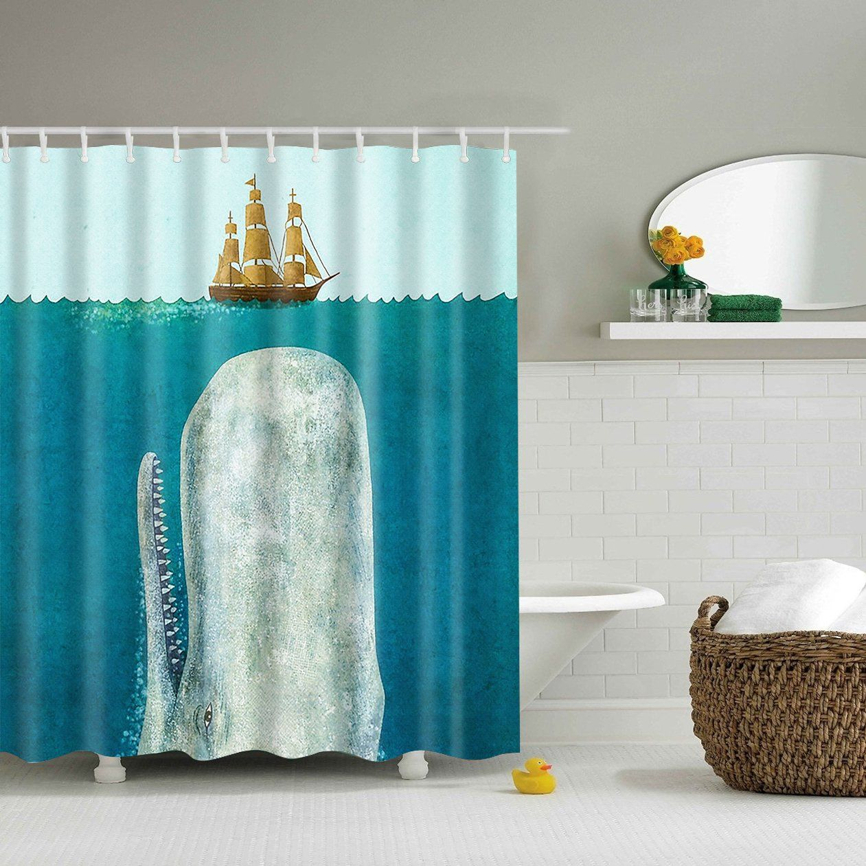 Ancient Boat The Whale Shower Curtain Bathroom Decor Fabric