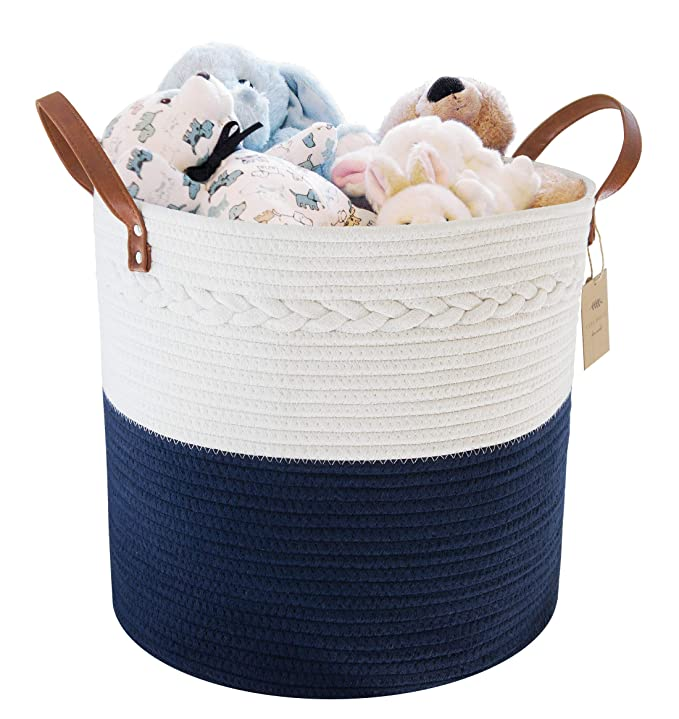 Amazon Com Large Cotton Rope Storage Basket 15 H X 13 D Home Decor Organizer For Laundry Bath Baby Care Hampe In 2020 Navy Blanket Storage Baskets Cotton Rope