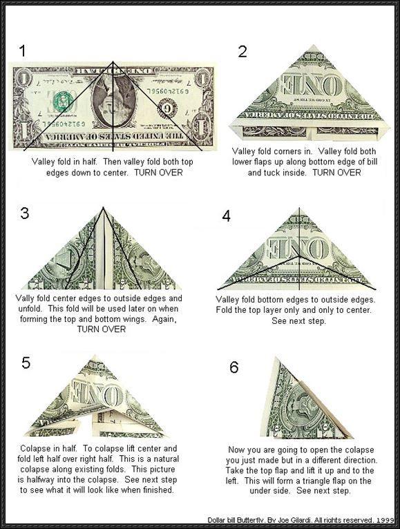 origami butterfly instructions dollar bill