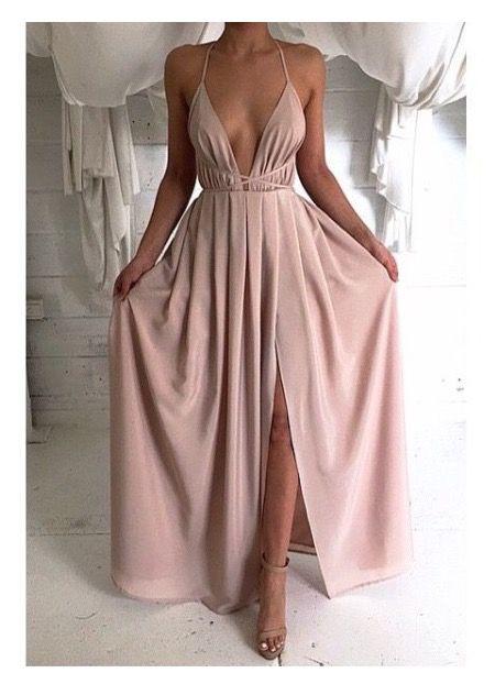 V-neck Slit Empire Waist Evening Dress,cheap evening dress,prom ...