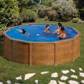 Piscina Gre Starpool circular aspecto madera altura 120 cm