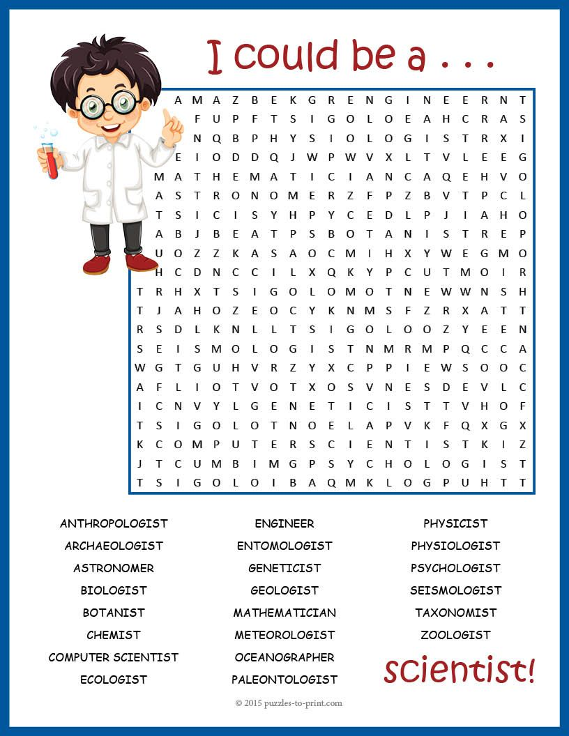Science Jobs Word Search Puzzle | Words, Kid and The kid