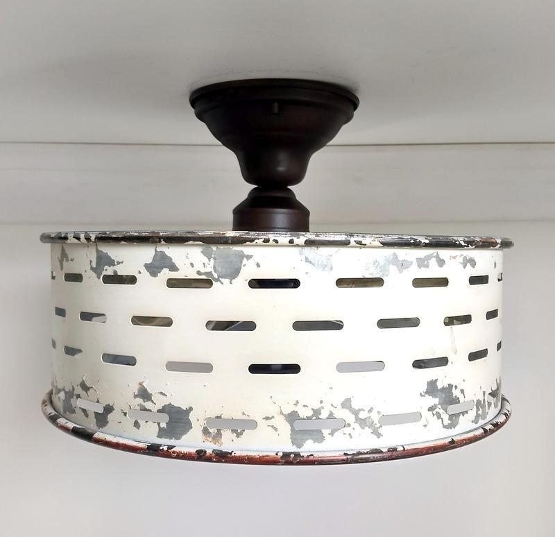 Rustic Galvanized Ceiling Light Farmhouse Fixture Chippy White