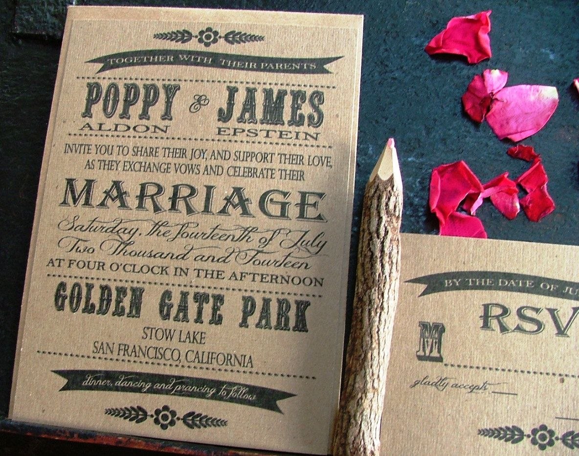 Fabulous black and brown grocer Wedding Invitations poppy style