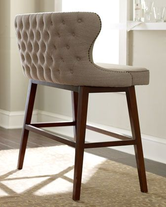 Evelyn Tufted Bar Bench Neiman Marcus Bar Bench Traditional Bar Stool Counter Height Bench