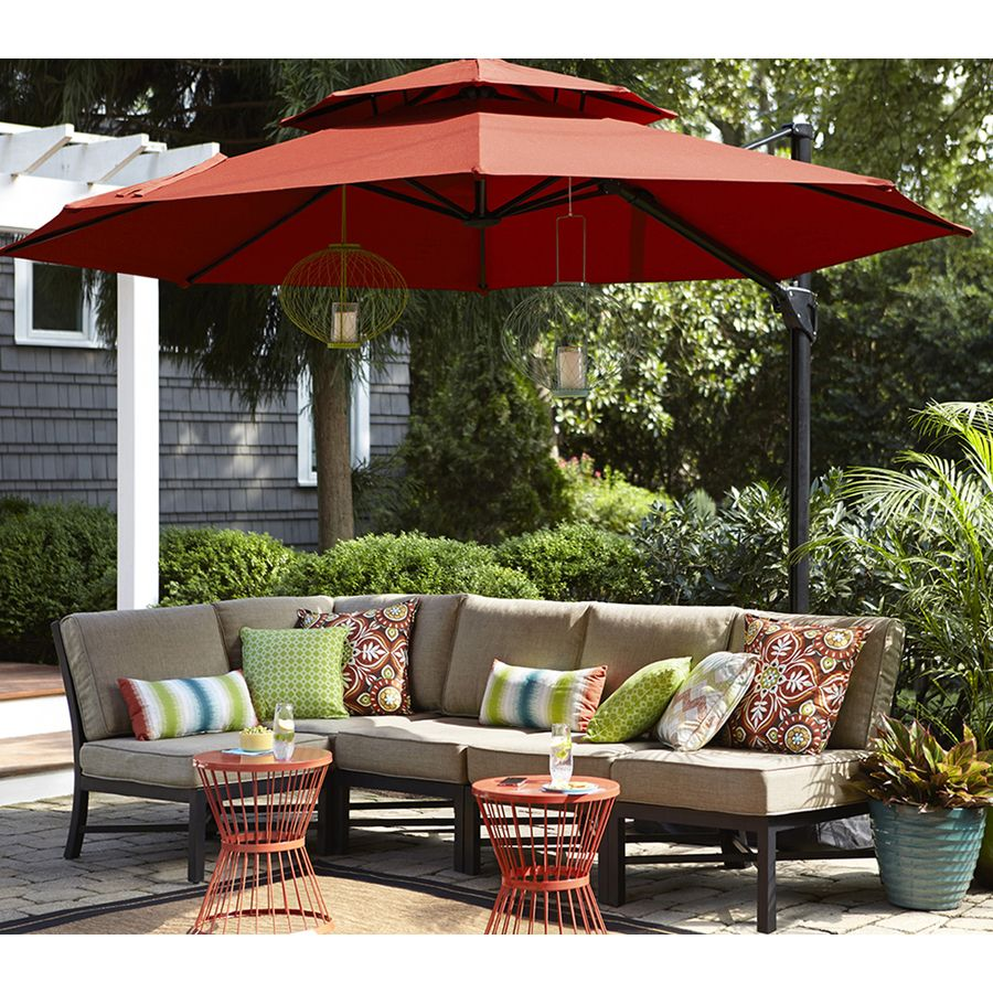 Garden Treasures Palm City 5 Piece Black Steel Patio Conversation Set With Tan Cushions At Lowes