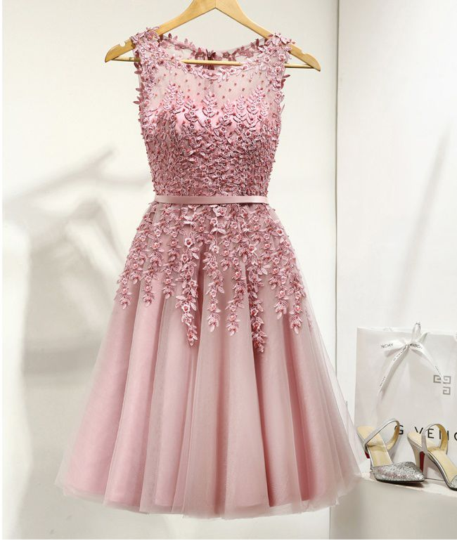 Pink Homecoming Dresses,Short Homecoming Dresses,Cute Dresses,Lace Beading Homecoming Dresses,Homecoming Dresses For Teens,Elegant Cocktail Dresses,Short Prom Dresses