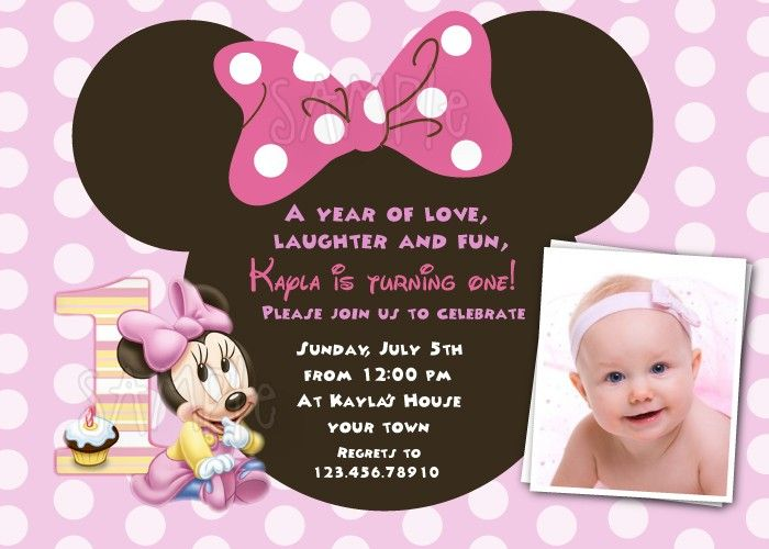 Nice The Minnie Mouse First Birthday Invitations Ideas