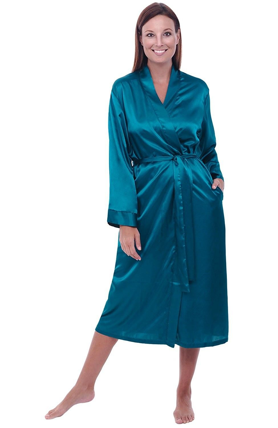 802c85362e114 Womens Satin Robe- Long Dressing Gown - Ocean Depth - C812EF3V5ZN ...