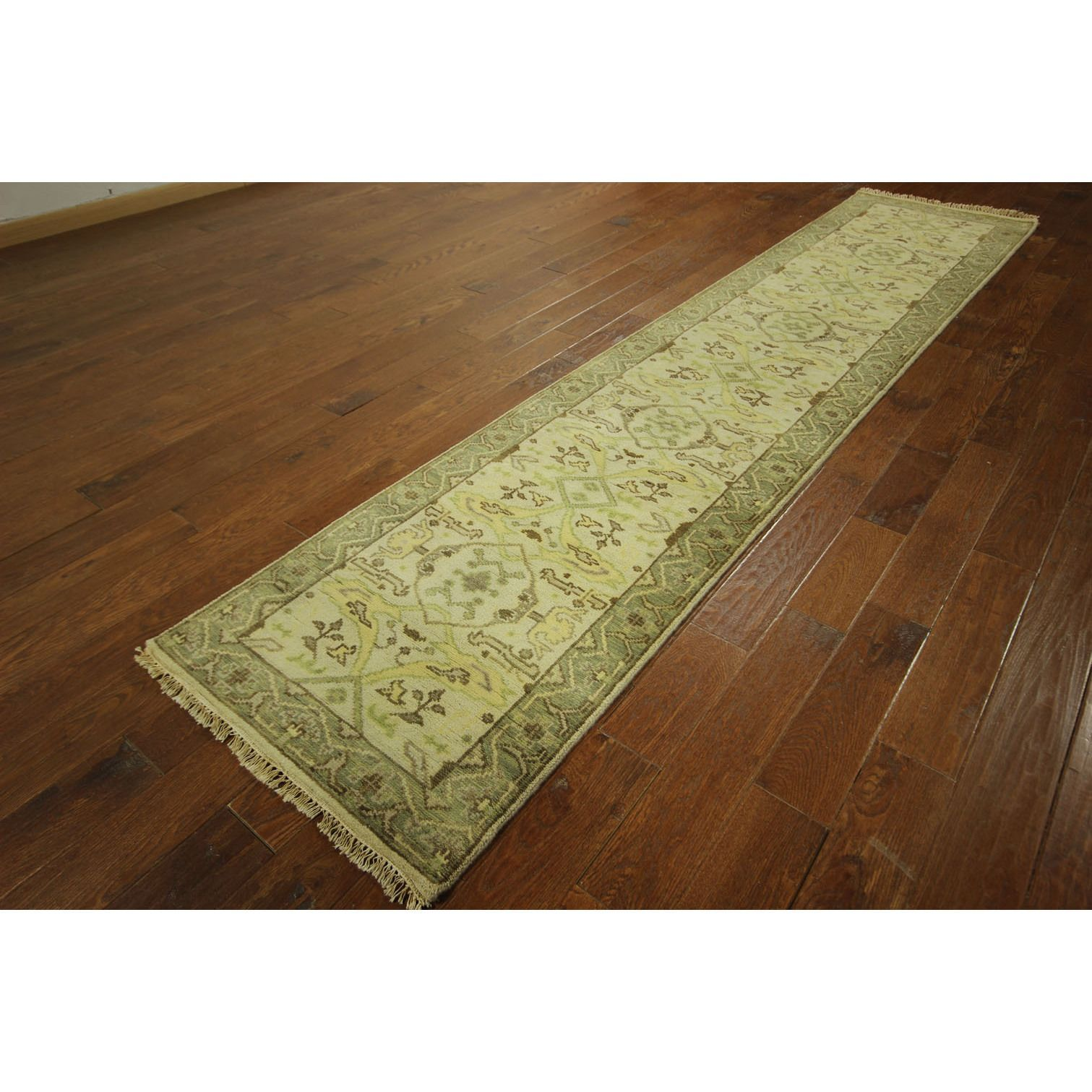 Manhattan New Hand-knotted Oushak Runner Traditional Turkish Rug