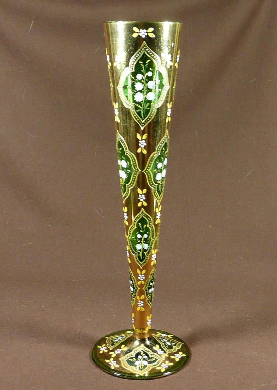 Lily of the valley bohemian enameled and gilded green glass lily of the valley bohemian enameled and gilded green glass trumpet vase reviewsmspy
