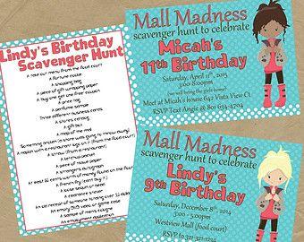 Mall Scavenger Hunt List Mall scavenger hunt and Birthdays