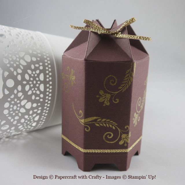 Lantern Style Hexagon Box Used My Hexagon Punch For The Legs Https Www Facebook Com Papercraftwithcrafty Photos A 162268039 Hexagon Box Gifts Paper Crafts