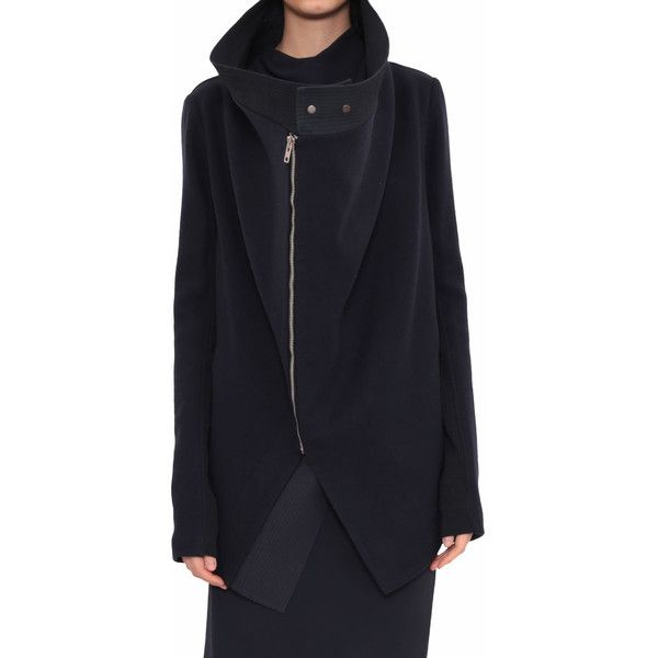 Rick Owens Exploder Saturn wool coat (32 135 ZAR) ❤ liked on Polyvore featuring outerwear, coats, black, asymmetrical coat, woolen coat, rick owens coat, black asymmetrical coat and black wool coat