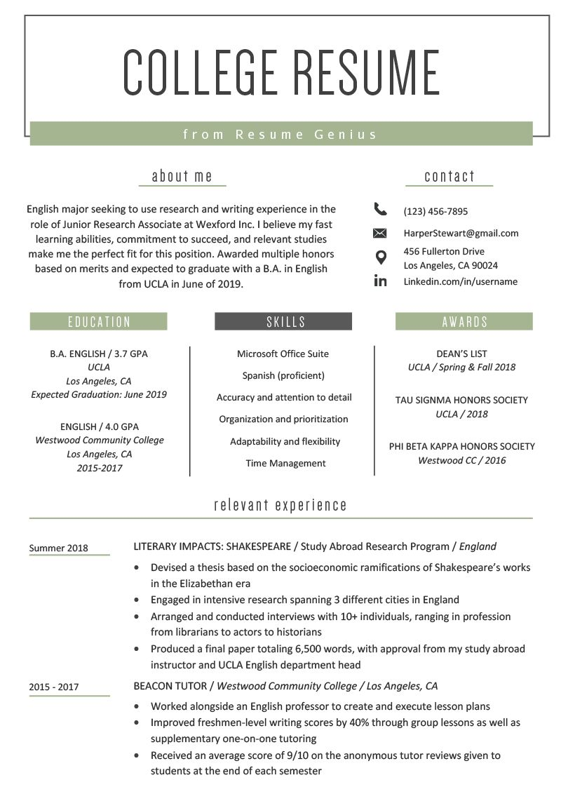 College Student Resume Sample Writing Tips Resume Genius For College Student Resume T College Resume Template College Application Resume High School Resume