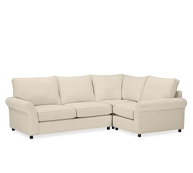PB Comfort Roll Arm Upholstered Left Arm 3-Piece Corner Sectional, Box Edge Down Blend Wrapped Cushions, Linen Oatmeal