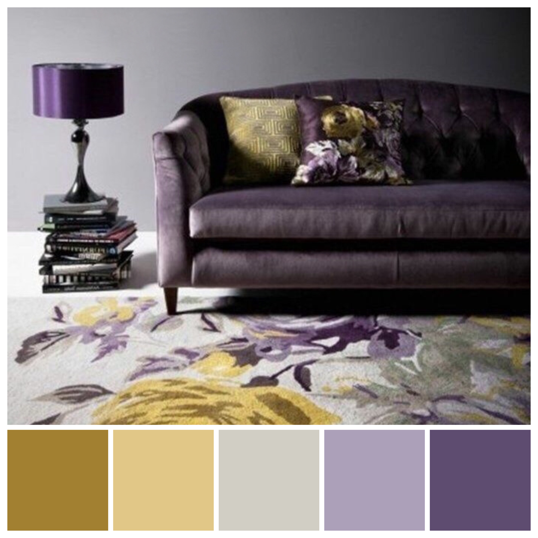 Love The Edgy Moody Use Of Contrasting Complementary Colours Purple And Yellow Gol Grey And Gold Bedroom Purple Wallpaper Living Room Gold Living Room Decor