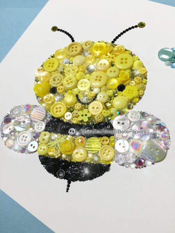 Cute Bumble Bee Decorations Button Art Bee Nursery Bees Swarovski ...