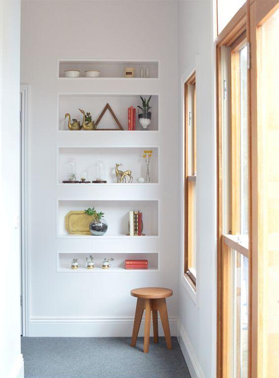 Built-in shelves bedroom decor