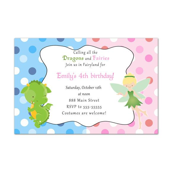 Printable Dragon Fairy Birthday Invitations Cards Pixie Princess