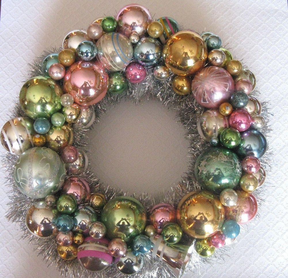 Vintage Ornament Wreath Shabby Chic | Etsy | Vintage
