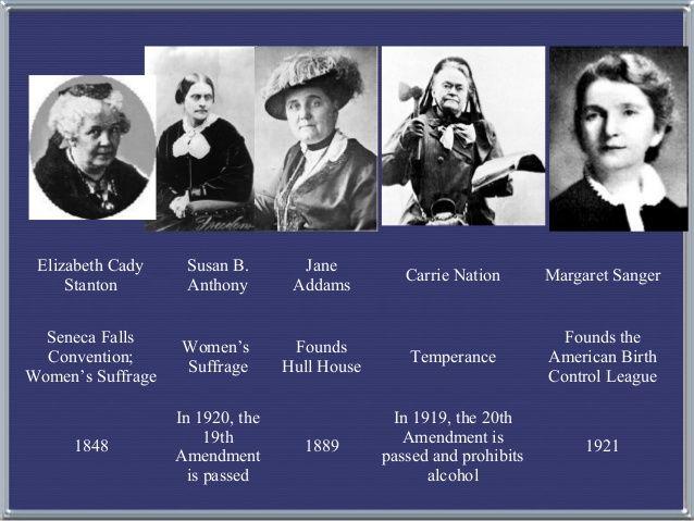 Elizabeth Cady Stanton Susan B Anthony Jane Addams Seneca Falls