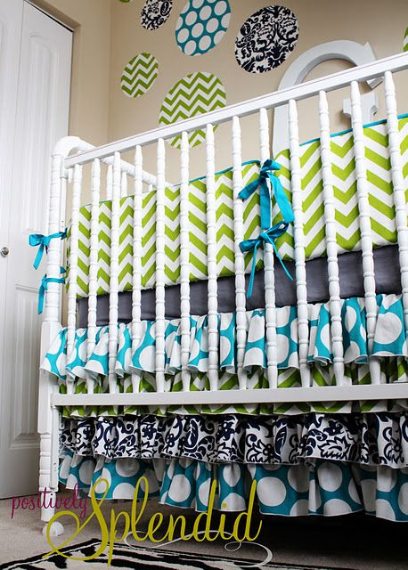Ruffled Crib Skirt Tutorial (LOVE these colors!)