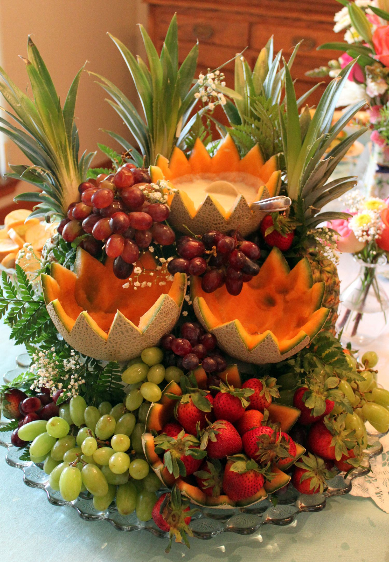 Fruit Cascade fruit display with dips for parties Legendary from