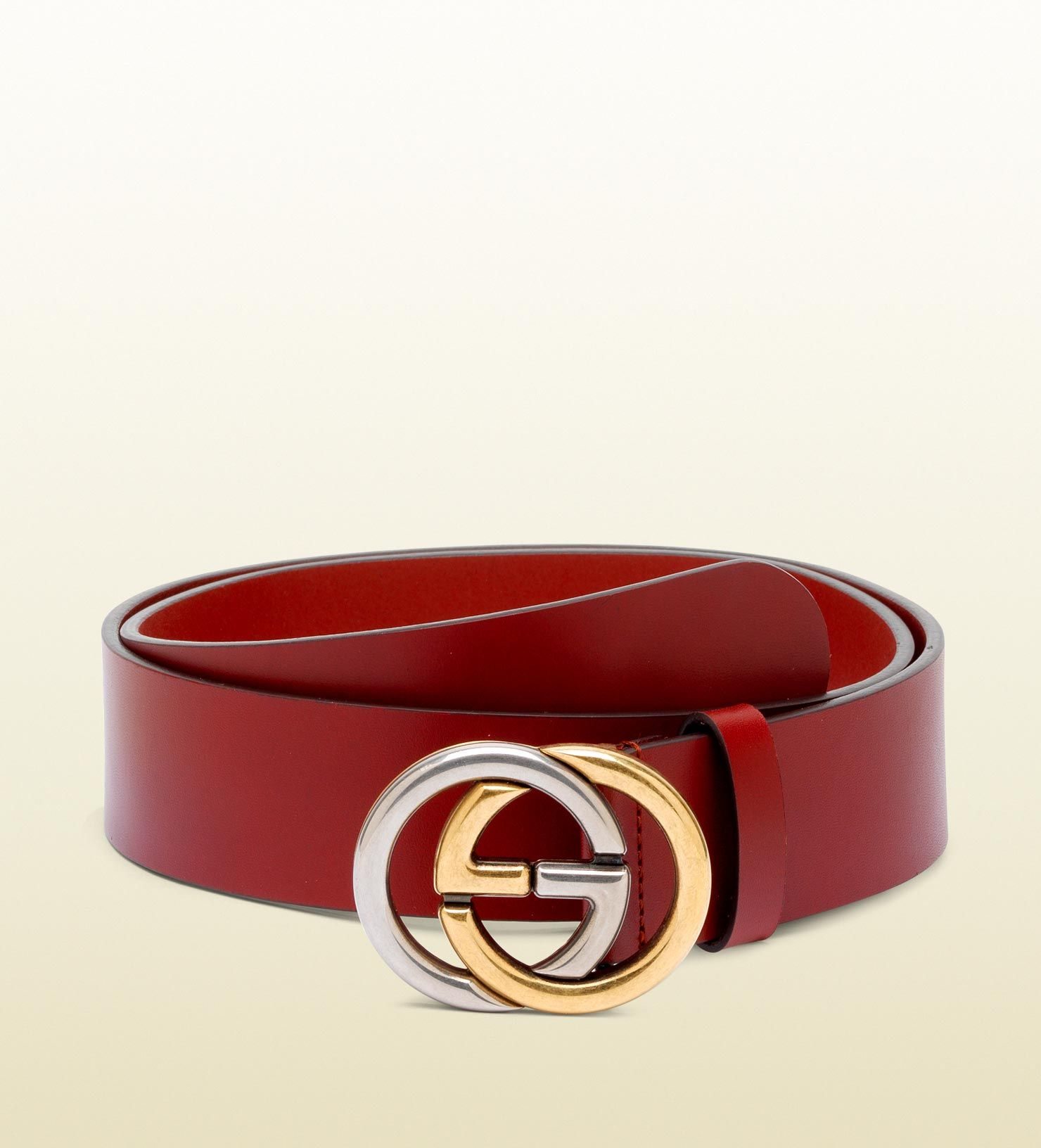 7f29d7c54c5e6 Men's Red Belt with Bicolor Interlocking G Buckle | Red Belt | Red ...