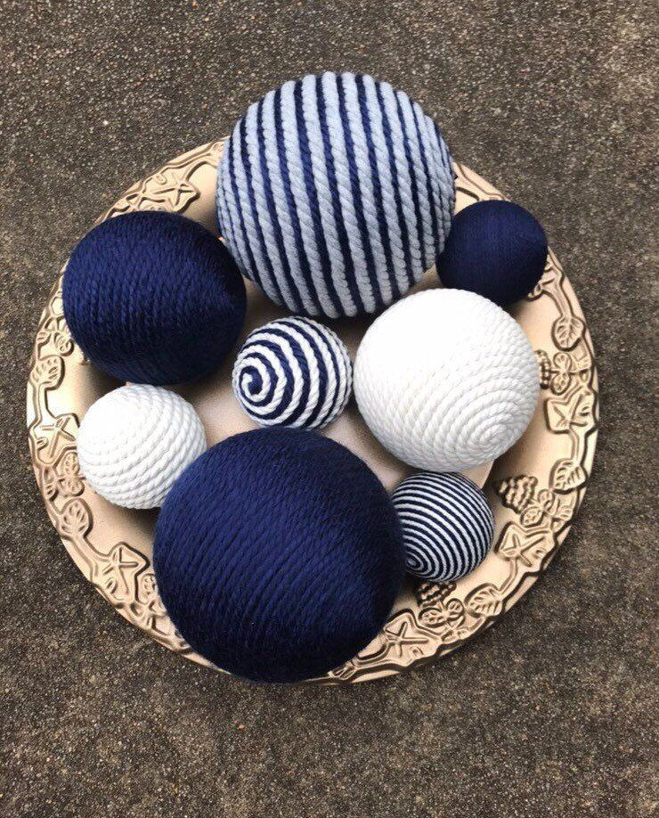 Cream and Grey yarn balls Wreath Attachments Decorative Ornaments Bowl Fillers Blue Home Decor Decorative Yarn Balls Wreath Supply