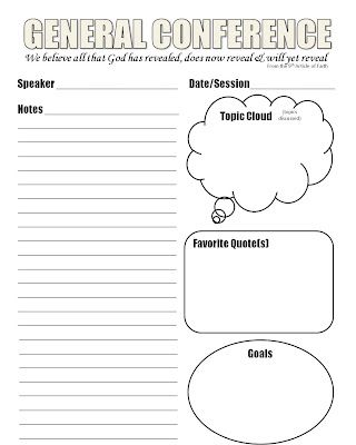 LDS General Conference Notes Template that I designed | Craft and ...