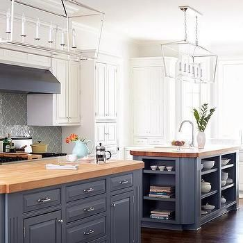 Blue Kitchen Island With Maple Butcher Block Countertop