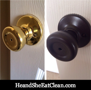 Replacing the door knobs would have been at least $400. This project costs us $36 - a savings of $364. Updated Doorknobs with Paint | He and She Eat Clean