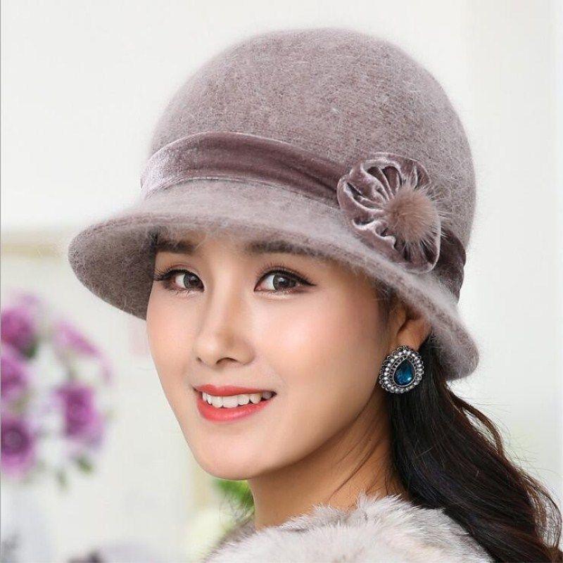 1450ba2418b Seioum Wool Women Winter Hat Beanies Bucket Cloche Round Cap Vintage Camel  Flower Fashion elegant girls Warm hat now available on Affordable  Bestsellers ...