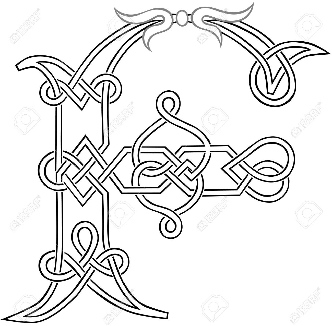 A Celtic Knot-work Capital Letter F Stylized Outline Royalty Free ...