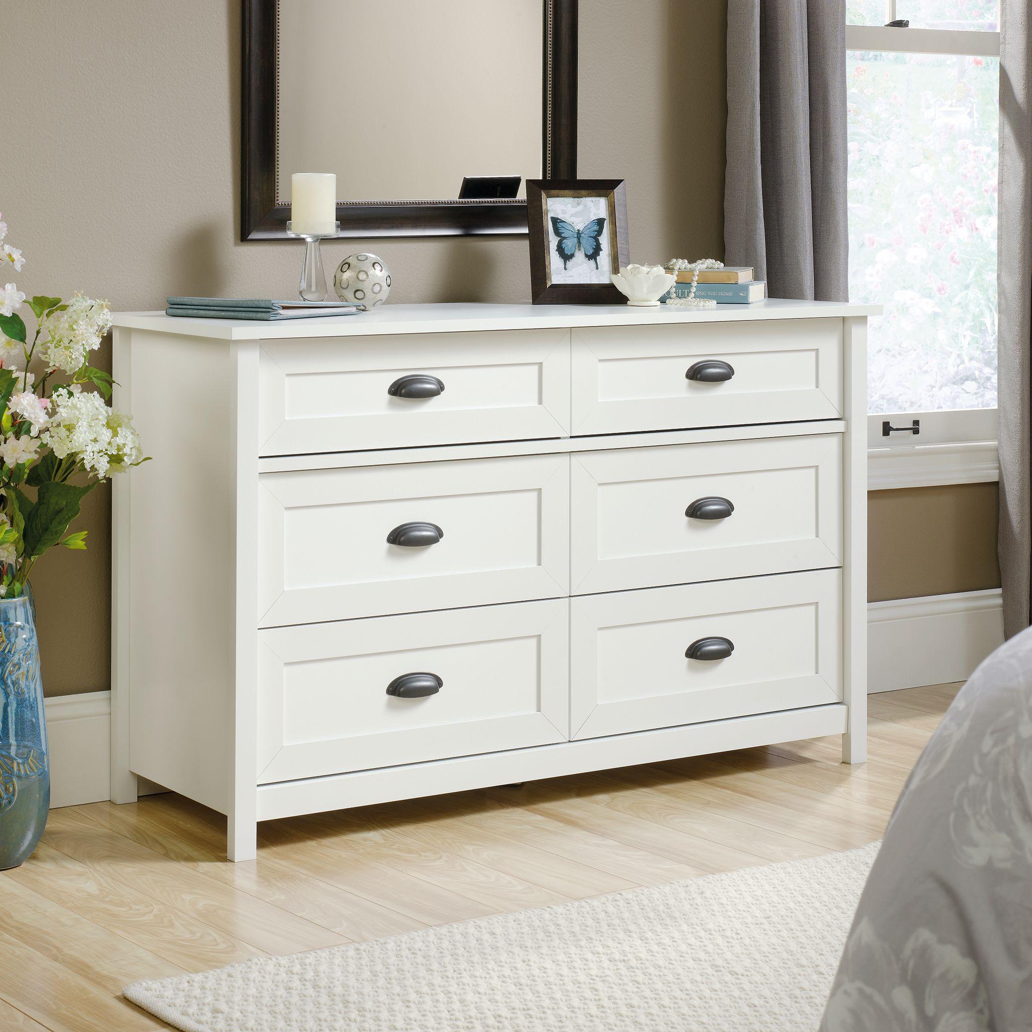 Sauder County Line Dresser, White Dresser drawers