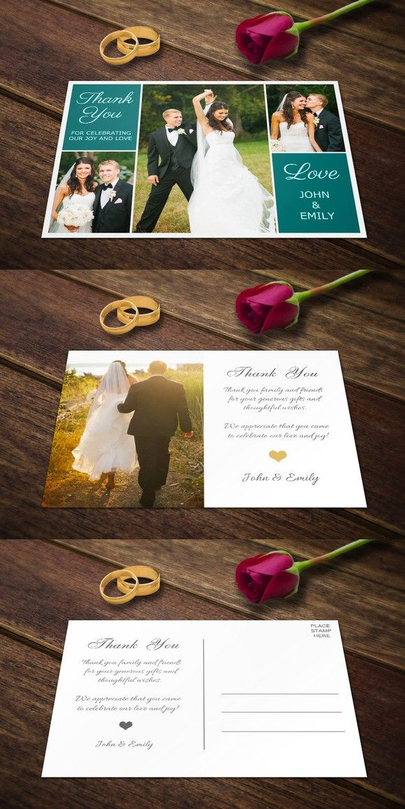 Wedding Thank You Postcards Template. Creative Card Templates. $7.00
